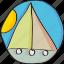 boat, drawn, float, hand, holiday, retro, sun, vintage icon