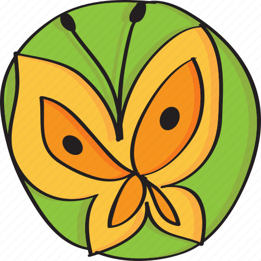 animal, butterfly, fly, green, insect, orange, retro, vintage icon