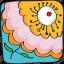 drawn, flower, hand, orange, plant, retro, vintage icon