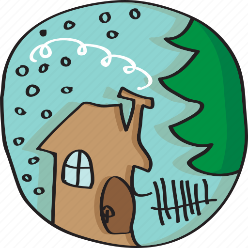 forrest, house, old, winter icon