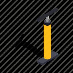 air, bicycle, equipment, isometric, pressure, pump, tool icon