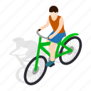 bicycle, bike, cyclist, isometric, man, race, wheel icon