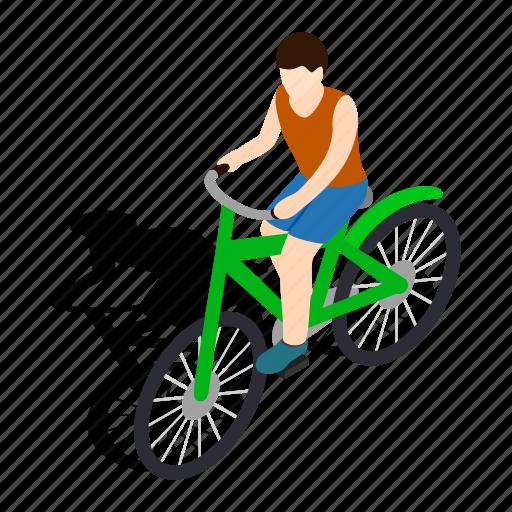 bicycle, bike, cyclist, isometric, man, race, wheel icon