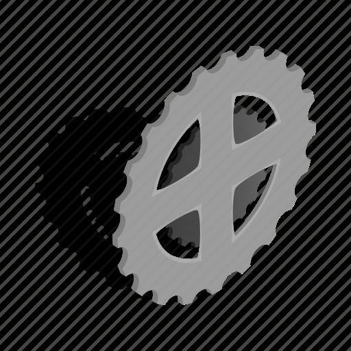 bicycle, bike, chain, isometric, metal, star, steel icon