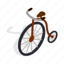 bicycle, isometric, old, pedal, ride, transport, vintage icon