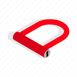 bicycle, bike, isometric, lock, metal, safety, security icon