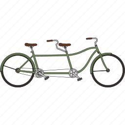 bicycle, tandem bicycle icon