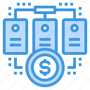 bank, communication, database, information, network, server, technology icon