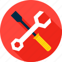 construction, gear, screwdriver, settings, wrench icon