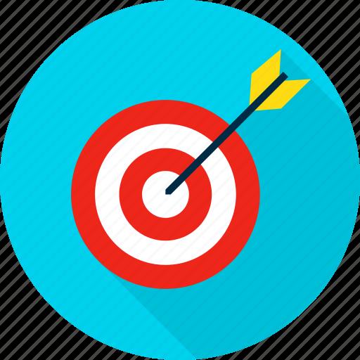 aim, arrow, bullseye, business, sport, success, target icon