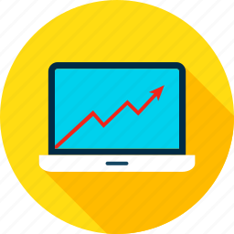 analytics, big, business, computer, data, infographic, laptop icon