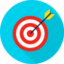 aim, archery, arrow, bullseye, business, target, targeting icon