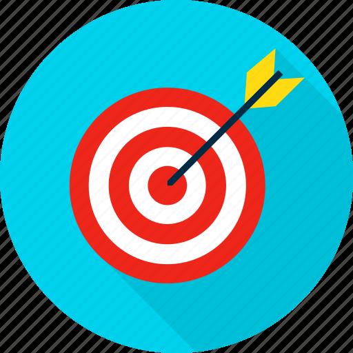 aim, archery, arrow, bullseye, business, target, targeting icon