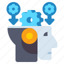 engineering, feature, gears, robot head icon
