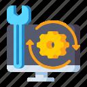analysis, gear, monitor, optimization icon