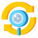 arrows, magnifying glass, regression, testing icon