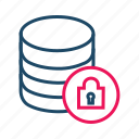 data center, database security, locked, protected database icon