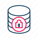 data center, database security, locked, protected databas, protected database icon