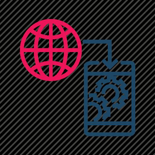 global communication, internet, mobile communication, mobile data transfer, web settings icon
