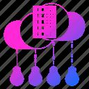 big data, bulb, cloud, innovation, server, storage icon