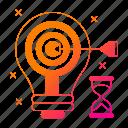 big data, bulb, goal, idea, storage, target, timer icon