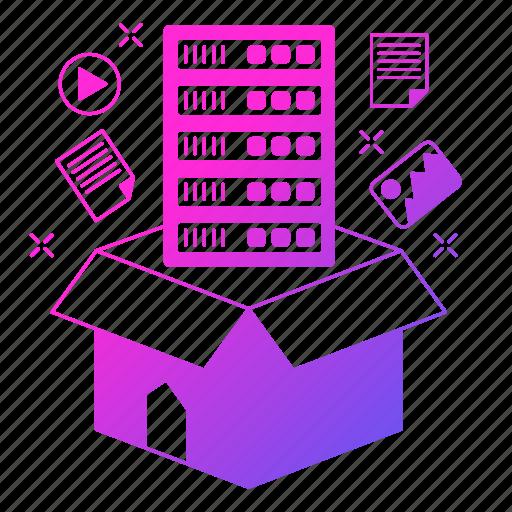 big data, box, data, server, storage icon