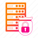big data, padlock, protect, protection, server, shield, storage icon
