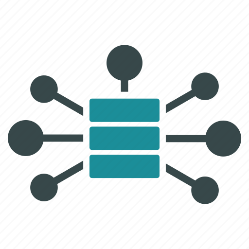 central server, connections, database, distribute, internet, network, storage icon