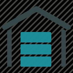 data center, database, garage, hosting, server, storage, warehouse icon
