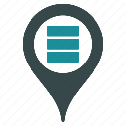database, datacenter, location, map marker, pin, pointer, position icon