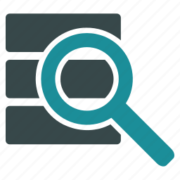 database, explore, find, lookup, research, search, search data icon