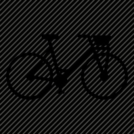 basket, bicycle, bike, city, girl, ride, street icon
