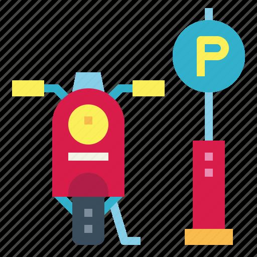 car, motorbike, parking, signs icon