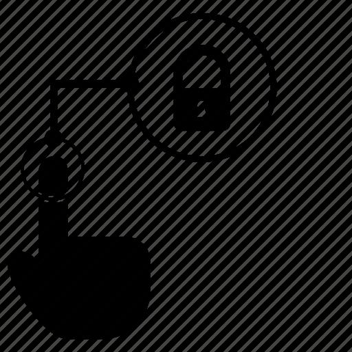 access, dactylogram, finger, fingerprint, locked, scan icon