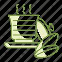 drink, hot, leaf, tea, serve icon