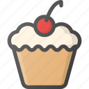 birthday, celebration, cherry, cupcake, dessert, muffin, party icon