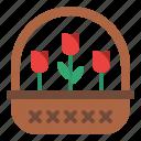 basket, decoration, flower, party