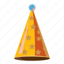 cartoon, celebration, fun, gold, hat, party, star icon