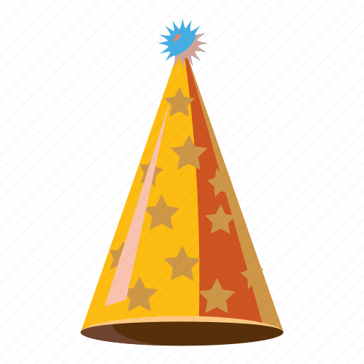 cartoon, celebration, fun, gold, hat, party, star icon