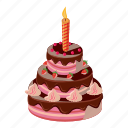 birthday, cake, candle, cartoon, celebration, dessert, sweet icon