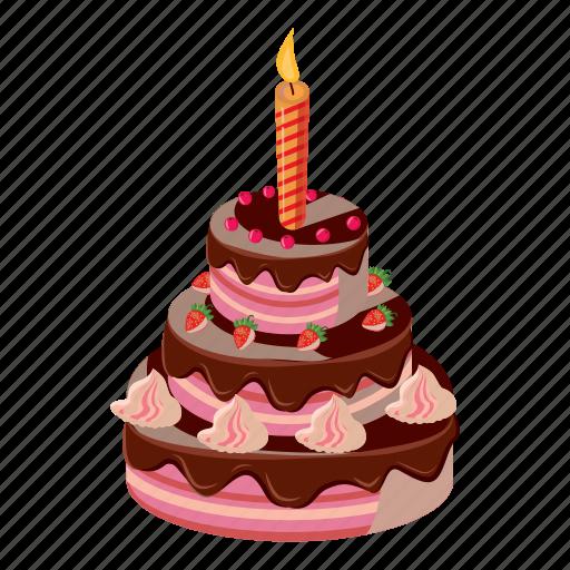 Birthday, Cake, Candle, Cartoon, Celebration, Dessert, Sweet Icon
