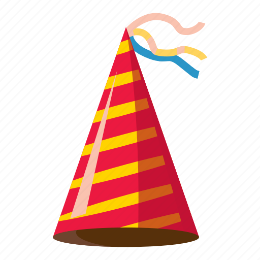 cartoon, celebration, cone, fun, hat, party, purple icon