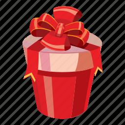 bow, box, cartoon, day, gift, love, ribbon icon