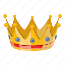 cartoon, celebration, crown, gold, party, princess, queen icon