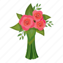 beautiful, bouquet, cartoon, flower, gift, pink, rose icon