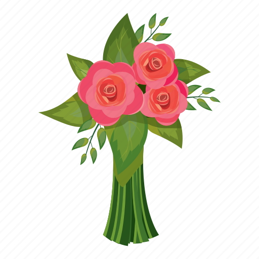 Beautiful Bouquet Cartoon Flower Gift Pink Rose Icon