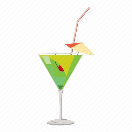 alcohol, cartoon, cocktail, drink, glass, juice, umbrella icon