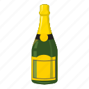 alcohol, bottle, cartoon, champagne, drink, gold, wine icon