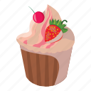 birthday, cake, cartoon, celebration, cupcake, strawberry, sweet icon