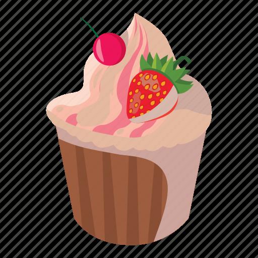 birthday, cake, cartoon, celebration, cupcake, strawberry, sweet icon
